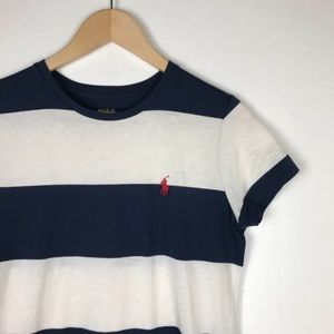 Polo Ralph Lauren Navy Block Striped T Shirt Dress